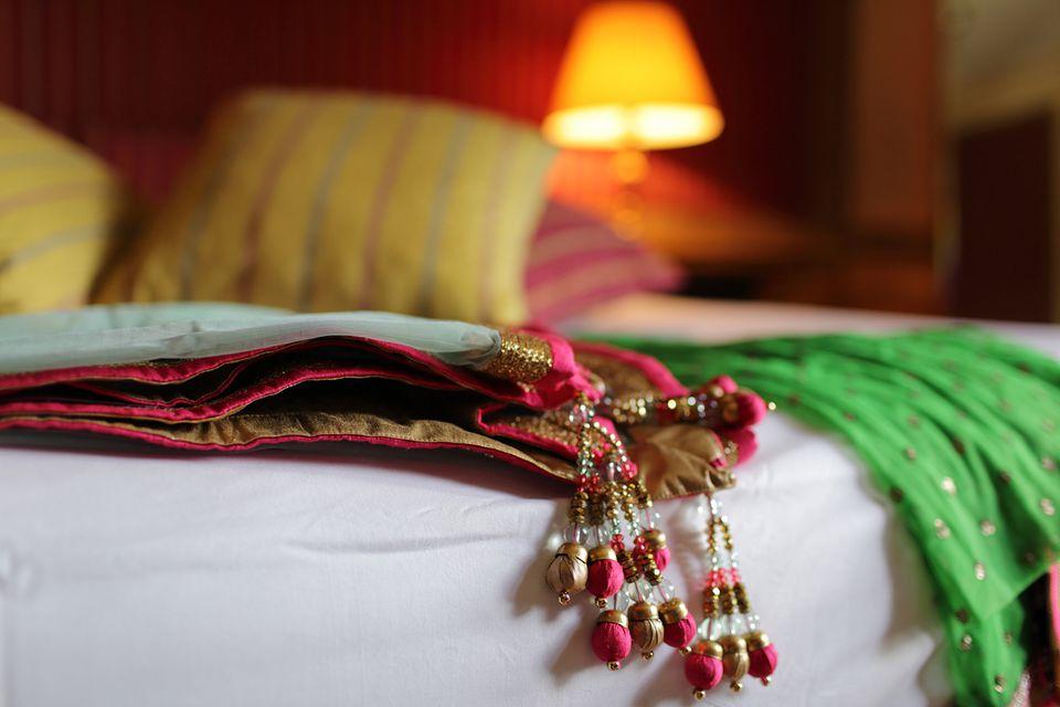 Close-Up of Sari on Bed at Home