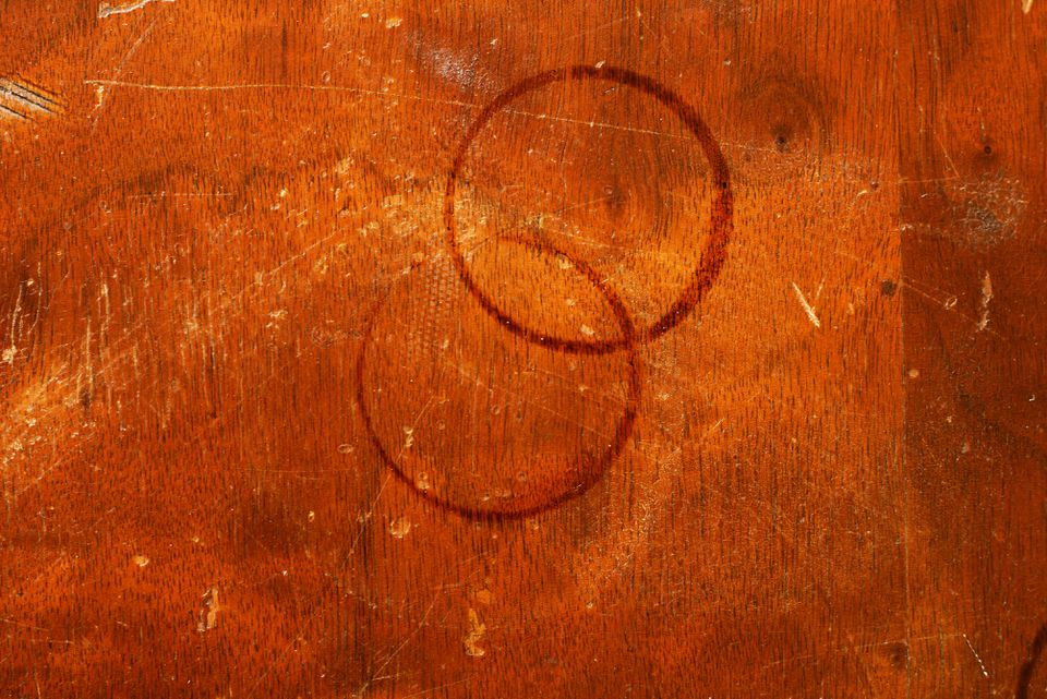 Water rings stained on wood