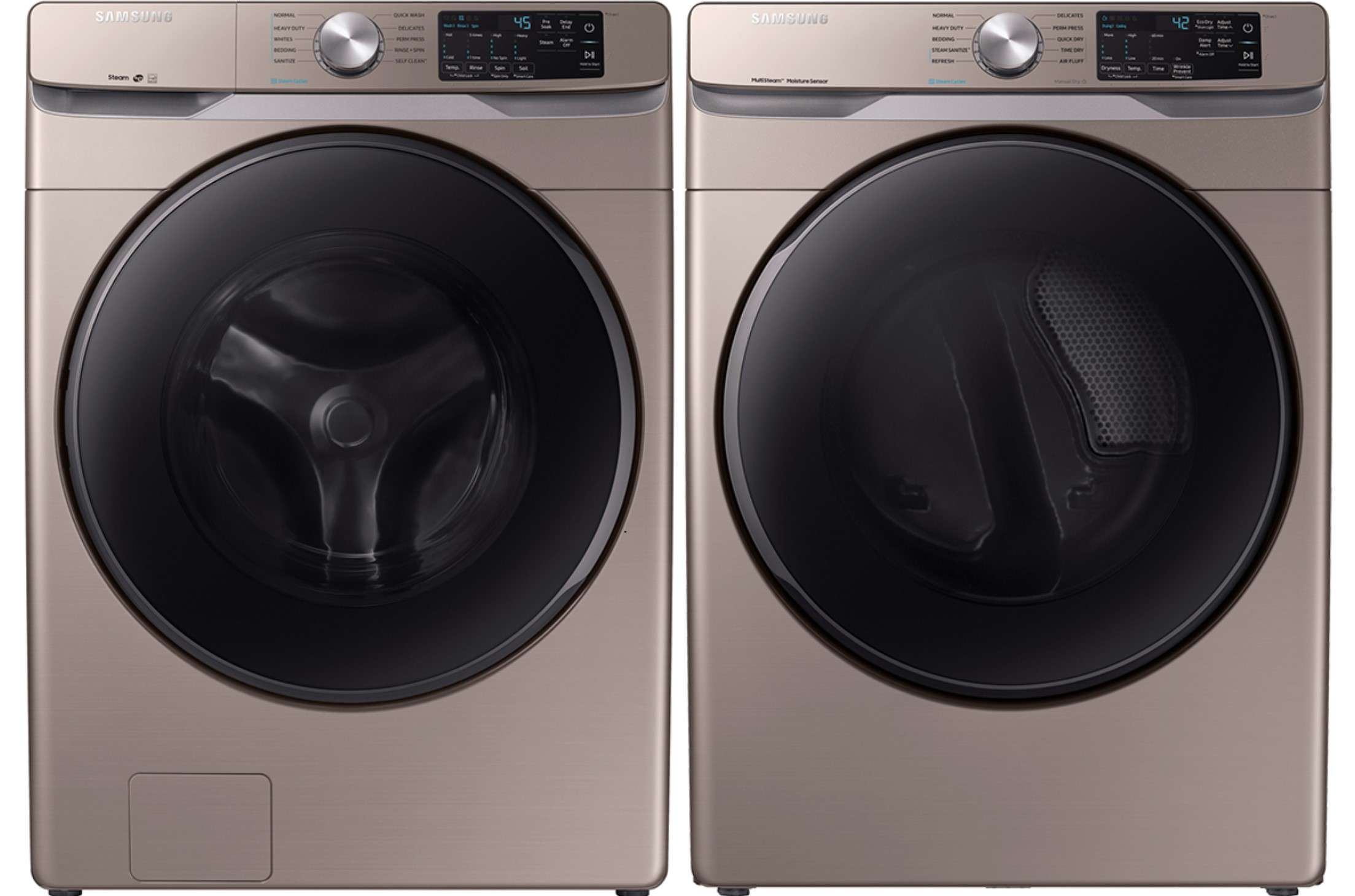 Samsung Champagne Front Load Steam Washer with Gas Dryer