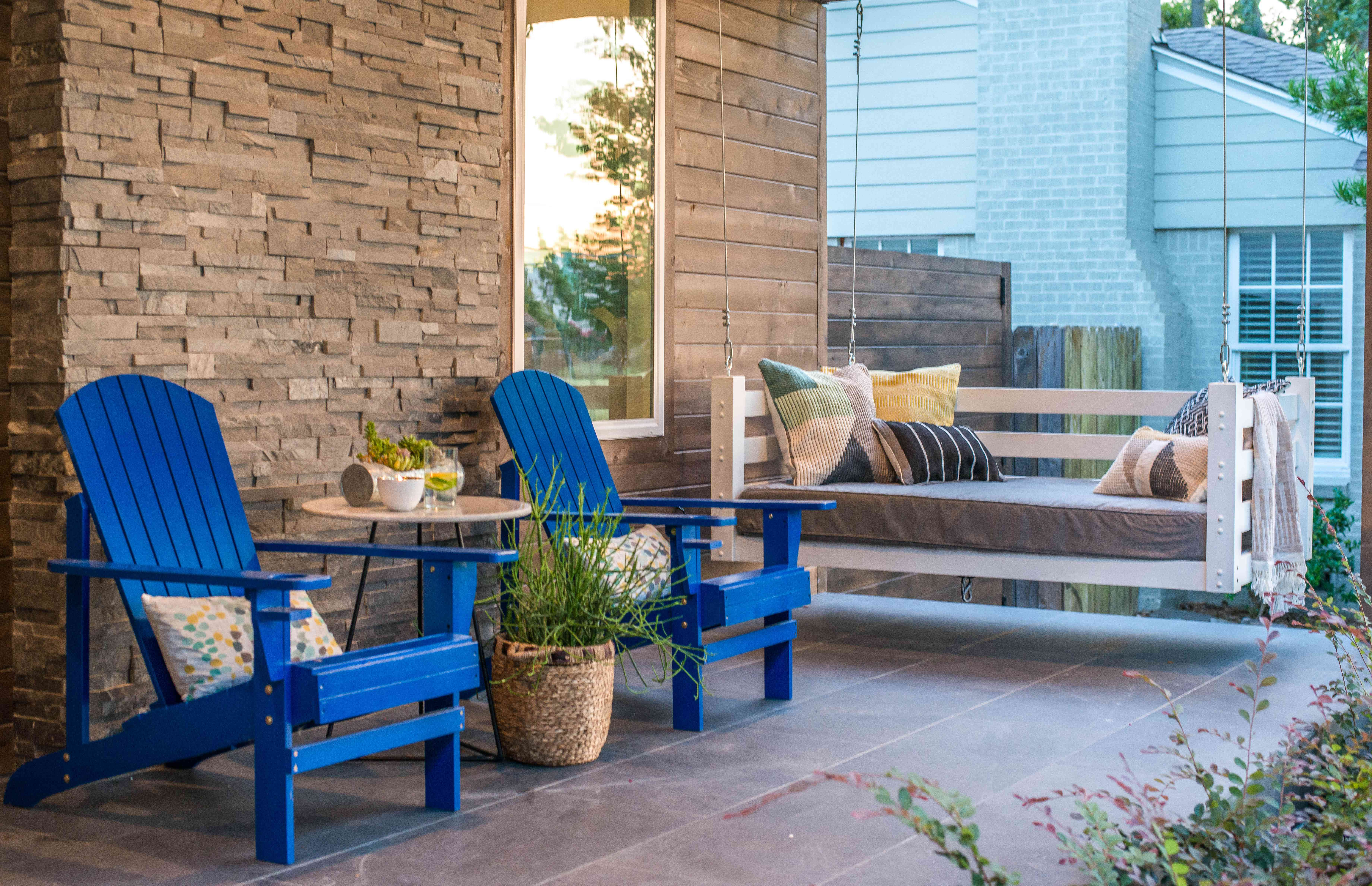 outdoor swing with Adirondack chairs
