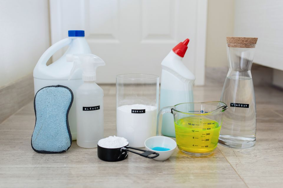 group of household cleaners