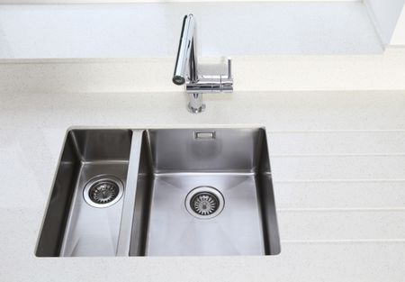 Undermount Stainless Steel Kitchen Sink And Tile Counter