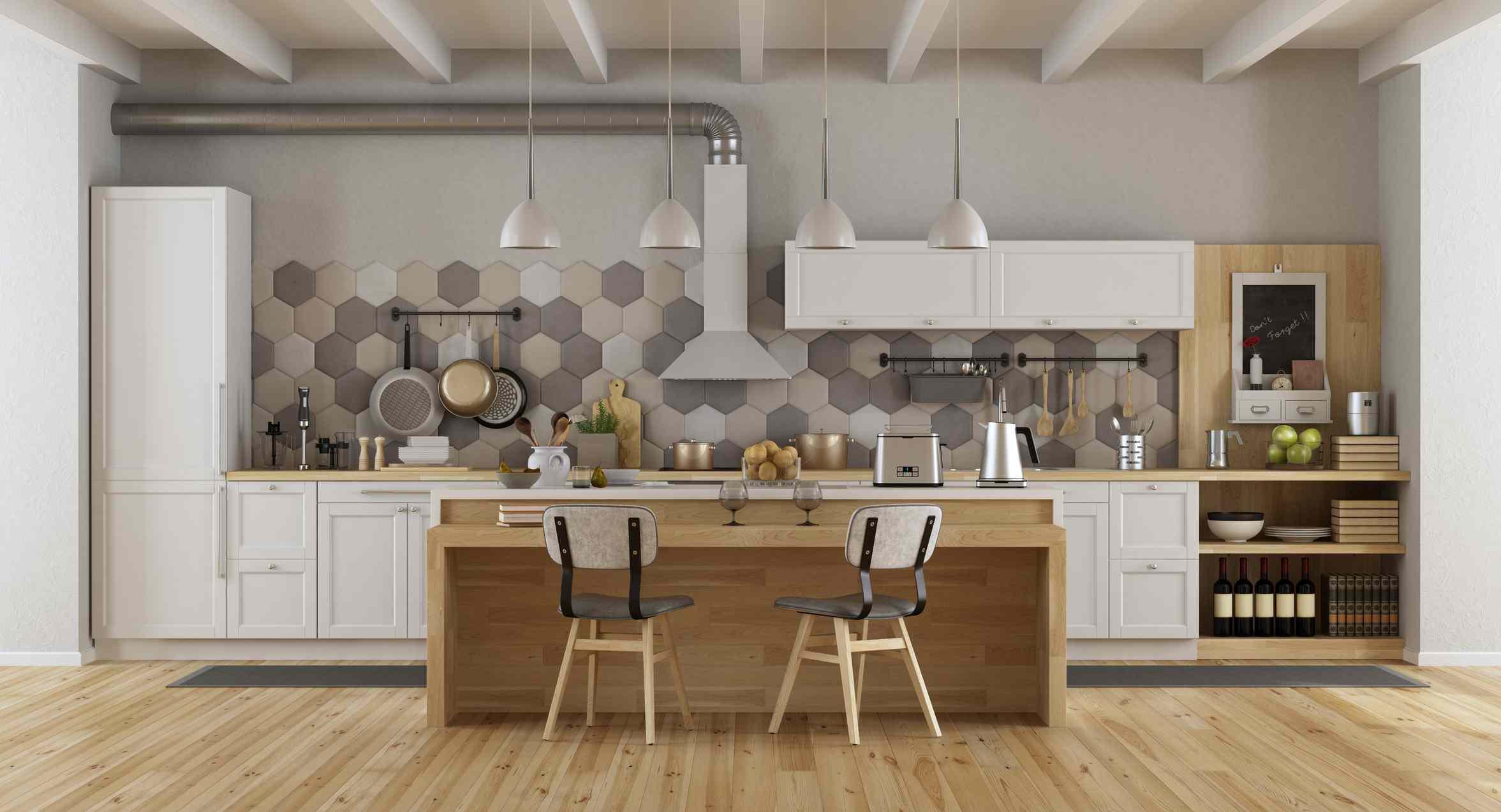 Hexagonal tile backsplash