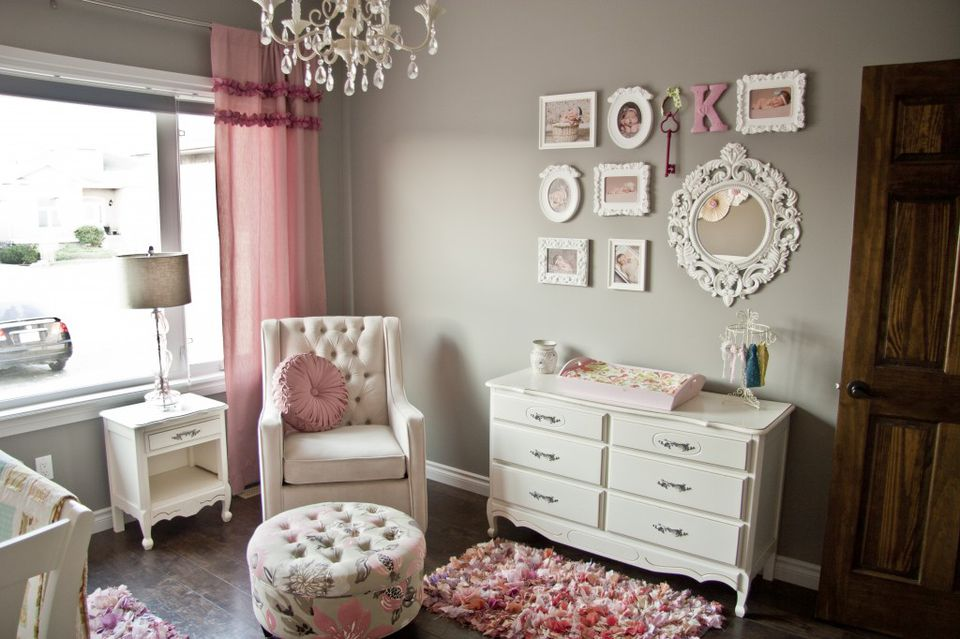 beautiful grey, white, and pink nursery offers a perfect example of a well-balanced color palette.