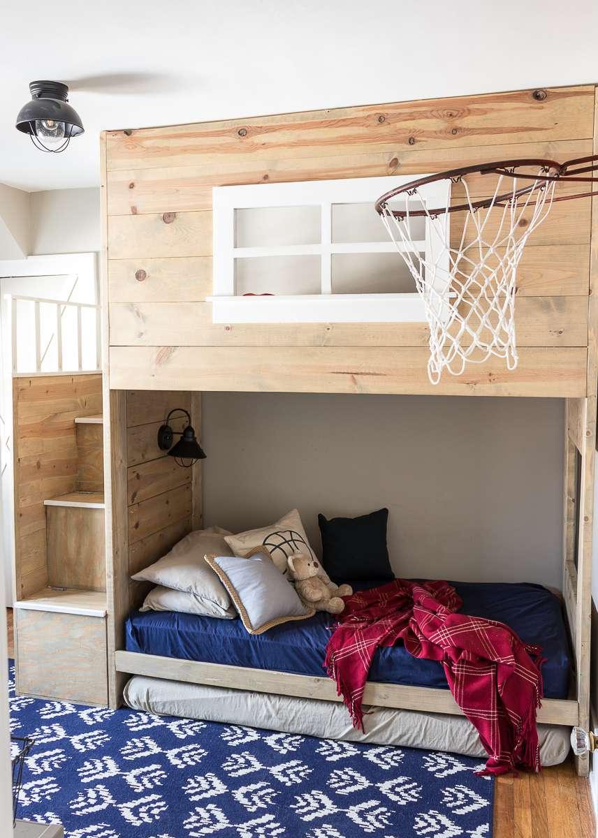 boy's bedroom with basketball hoop
