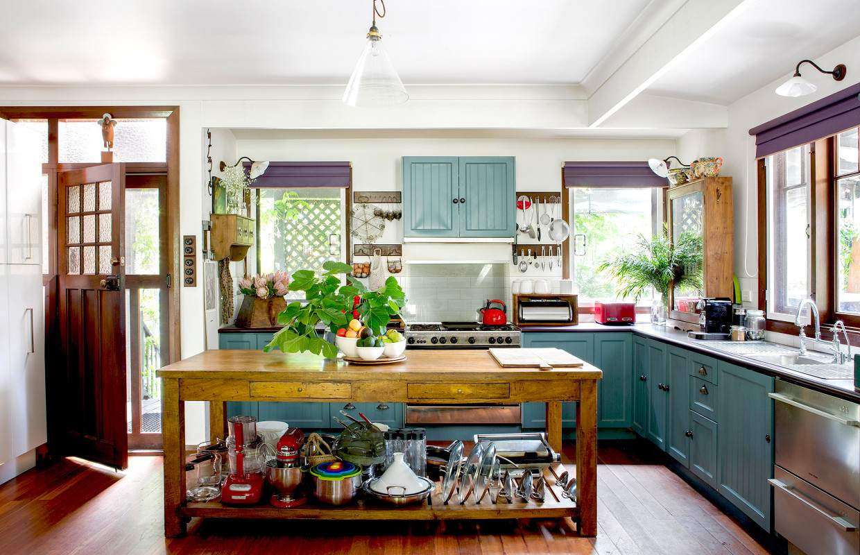 kitchen with purple and teal accents