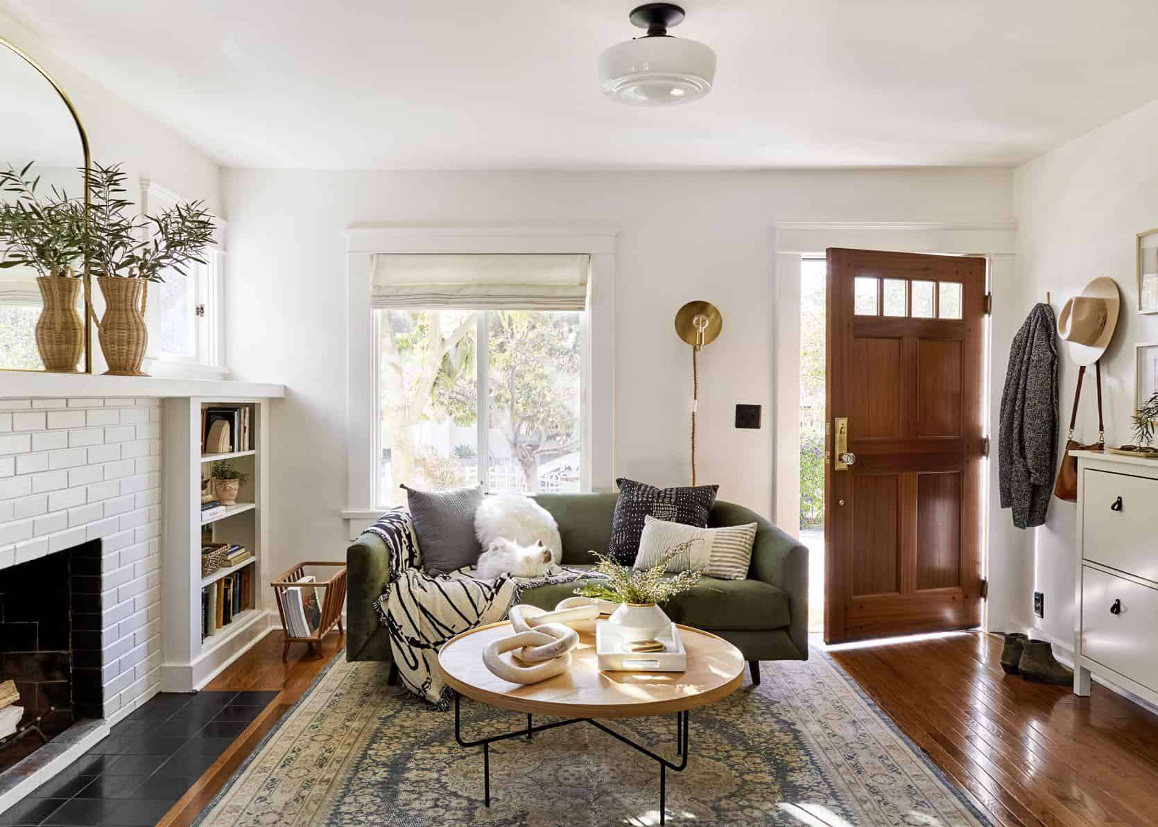 A staged living room featuring plants