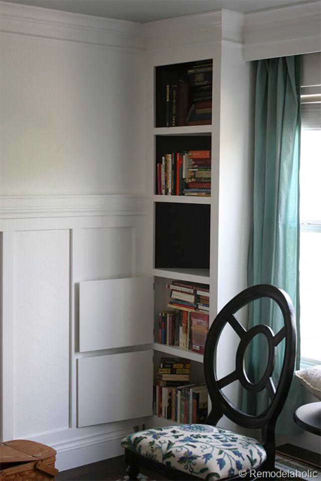 A built-in bookcase in a living room