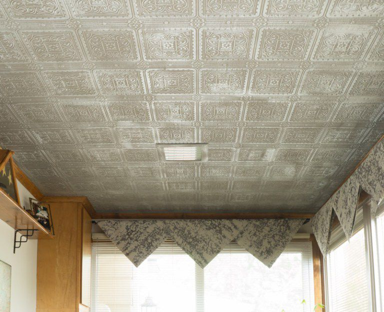 tin ceiling in an office