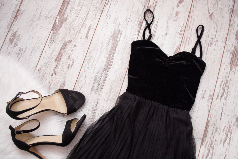 A black velvet evening dress and shoes