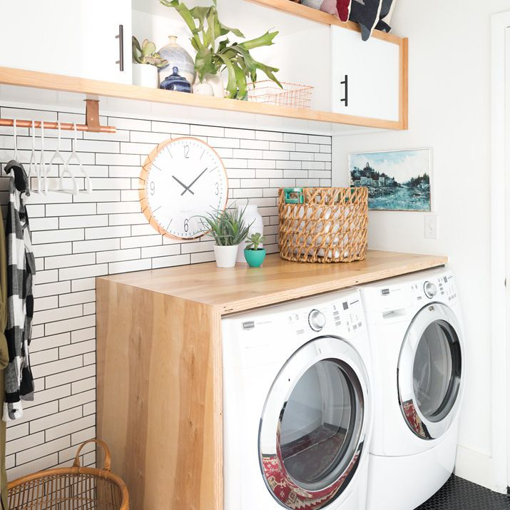 DIY Plywood Laundry Room Waterfall Countertop