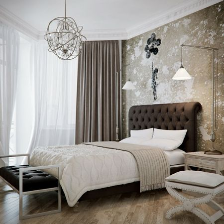 Glamorous Brown And White Bedroom