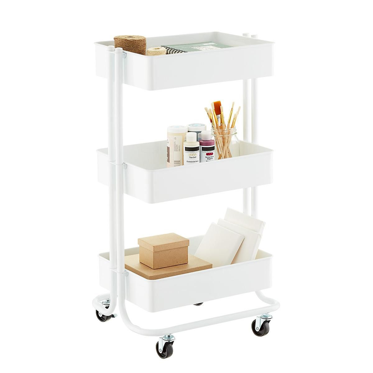 The Container Store White 3-Tier Rolling Cart