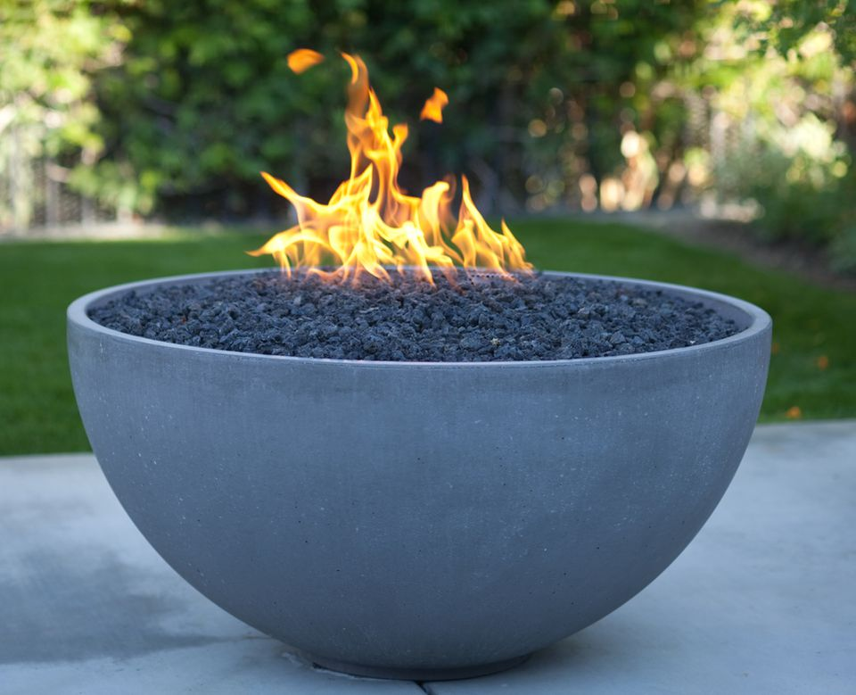 Modern fire pit in a backyard