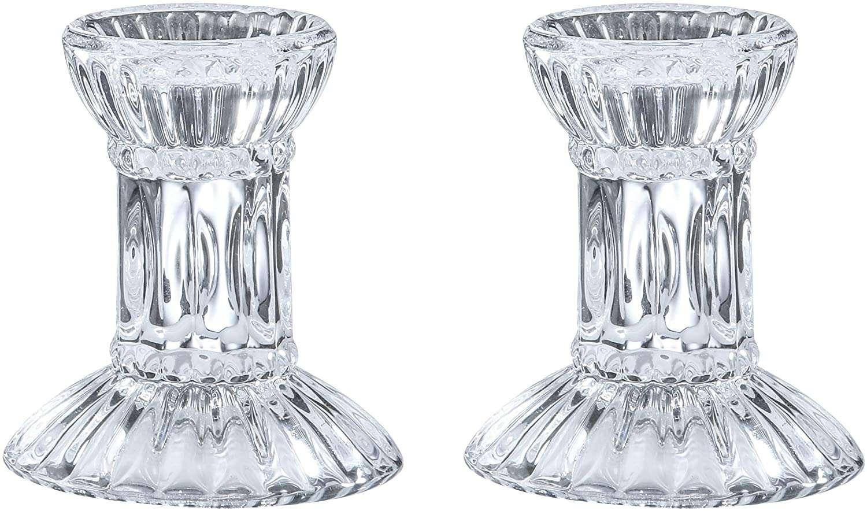 Ner Mitzvah Round Base Crystal Candlesticks