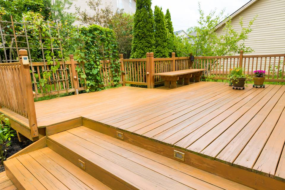 Wooden deck of family home.