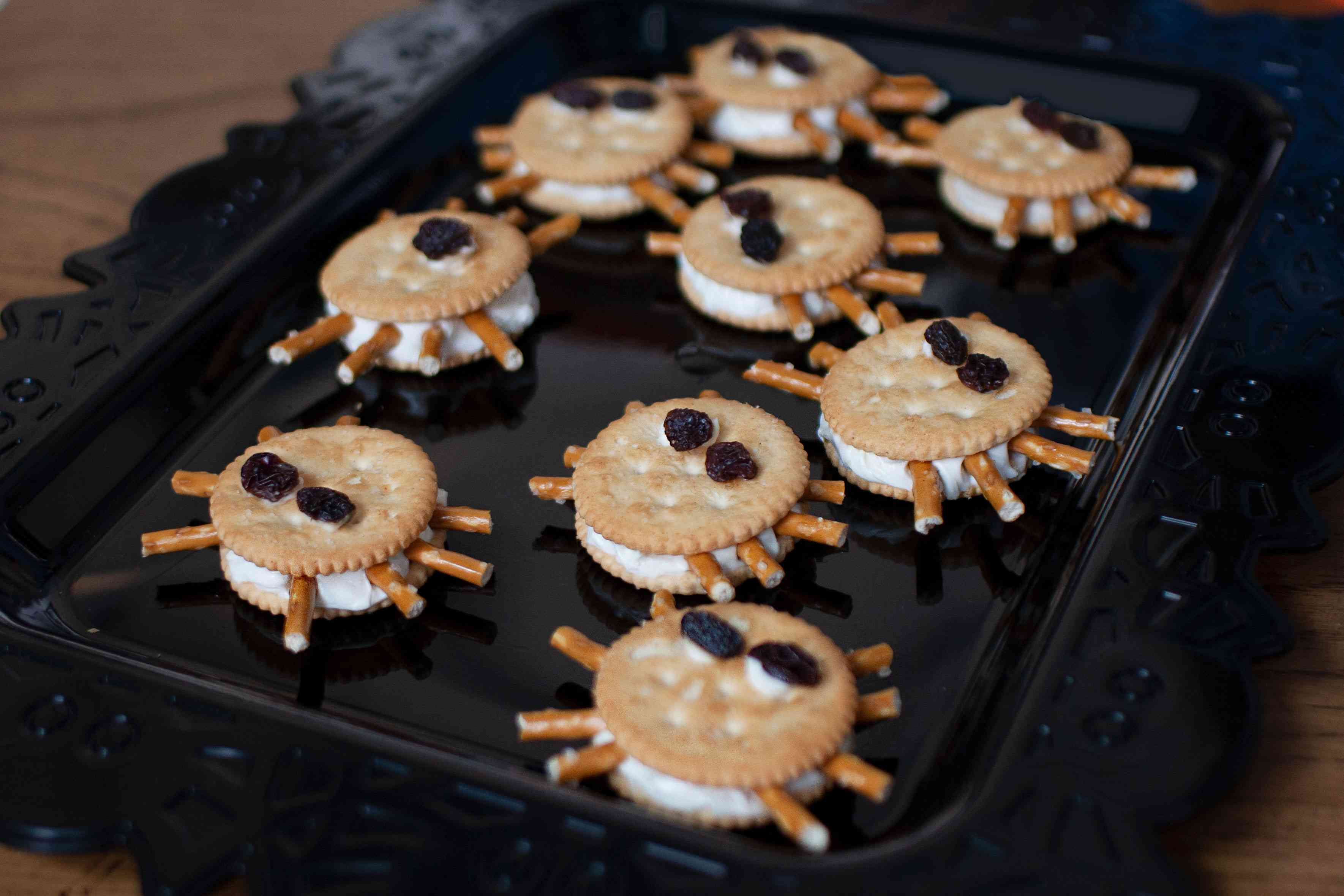 Spiders made from crackers and pretzels
