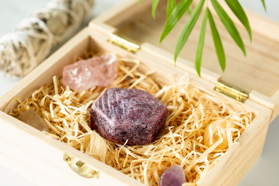 raw ruby in a wooden box