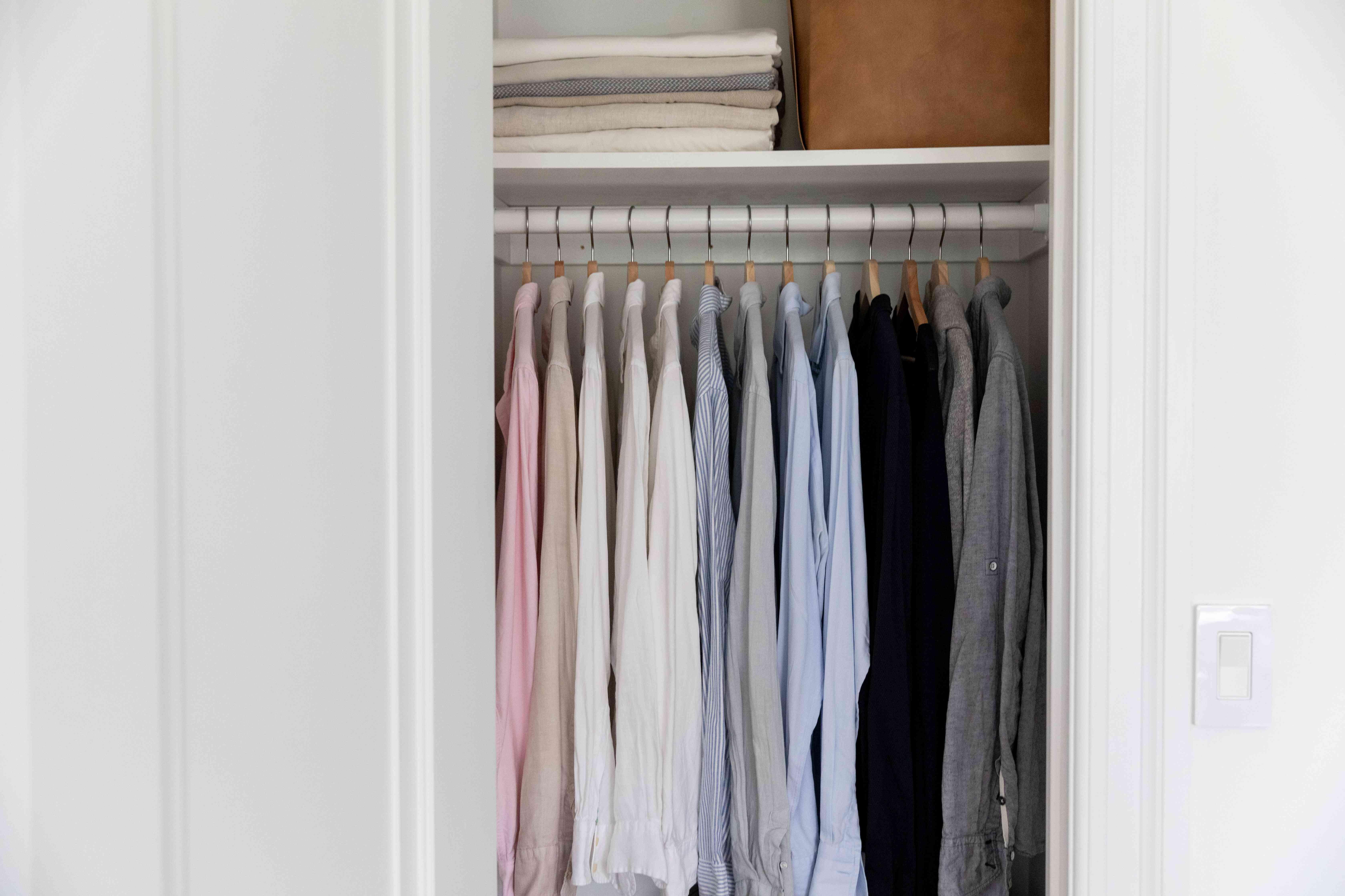utilizing the top shelf of a closet