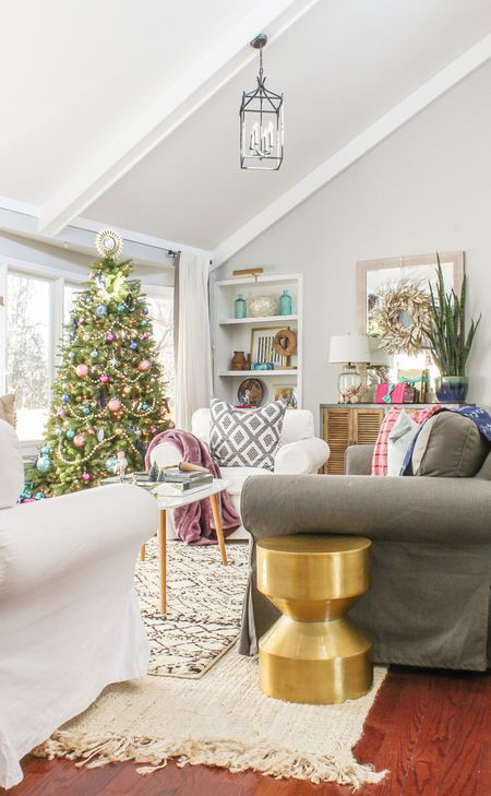 mid century modern inspired christmas living room