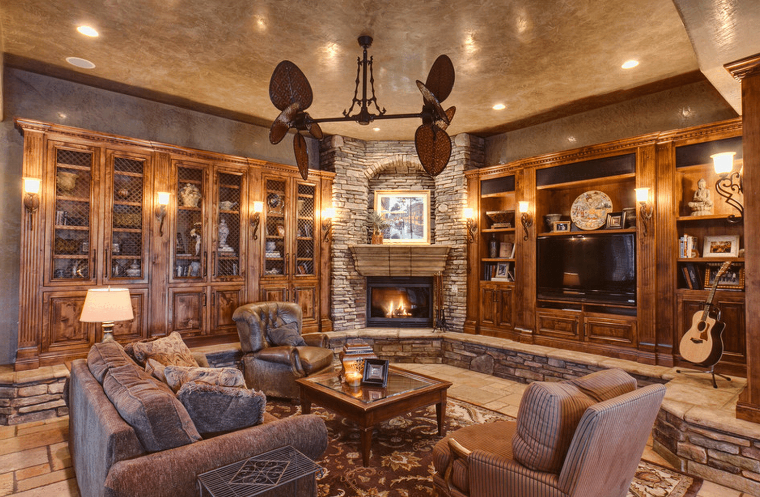Traditional style living room with mahogany built ins