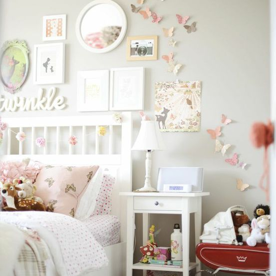 Butterfly gallery wall for girls room