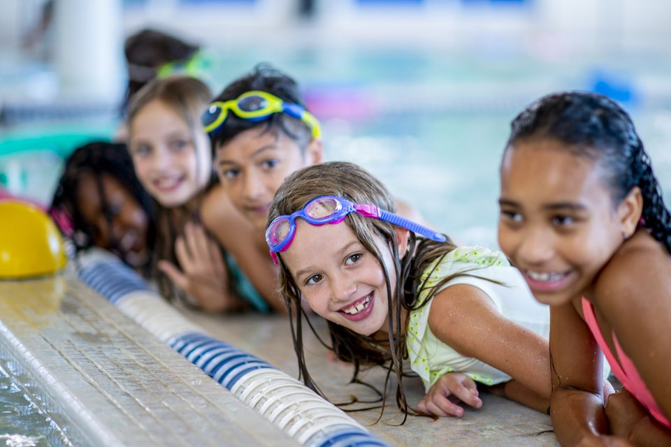 Group of kids at an indoor pool party