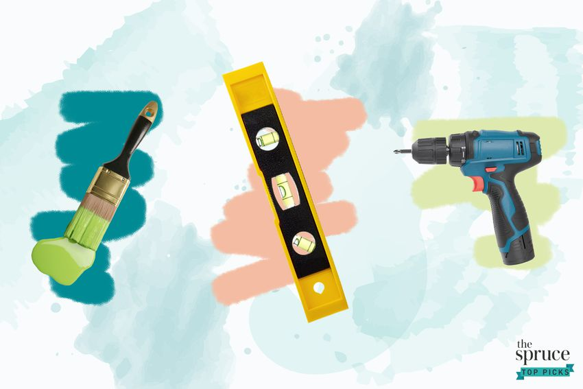 Photo composite of a paint brush with green paint, a level, and a power drill