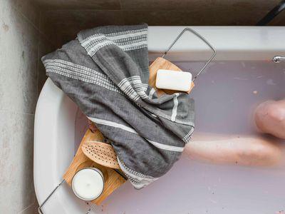 shower caddy in bathtub