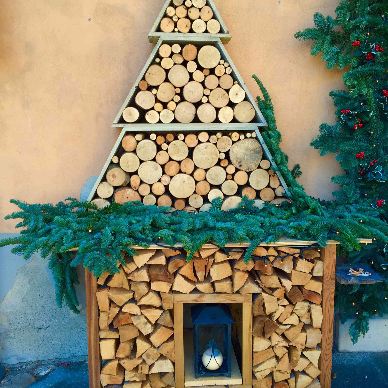 Logs shaped like a Christmas tree