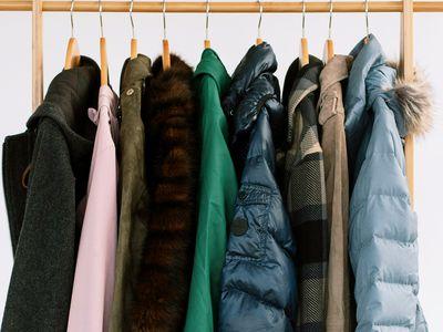Nine types of winter coats hanging up
