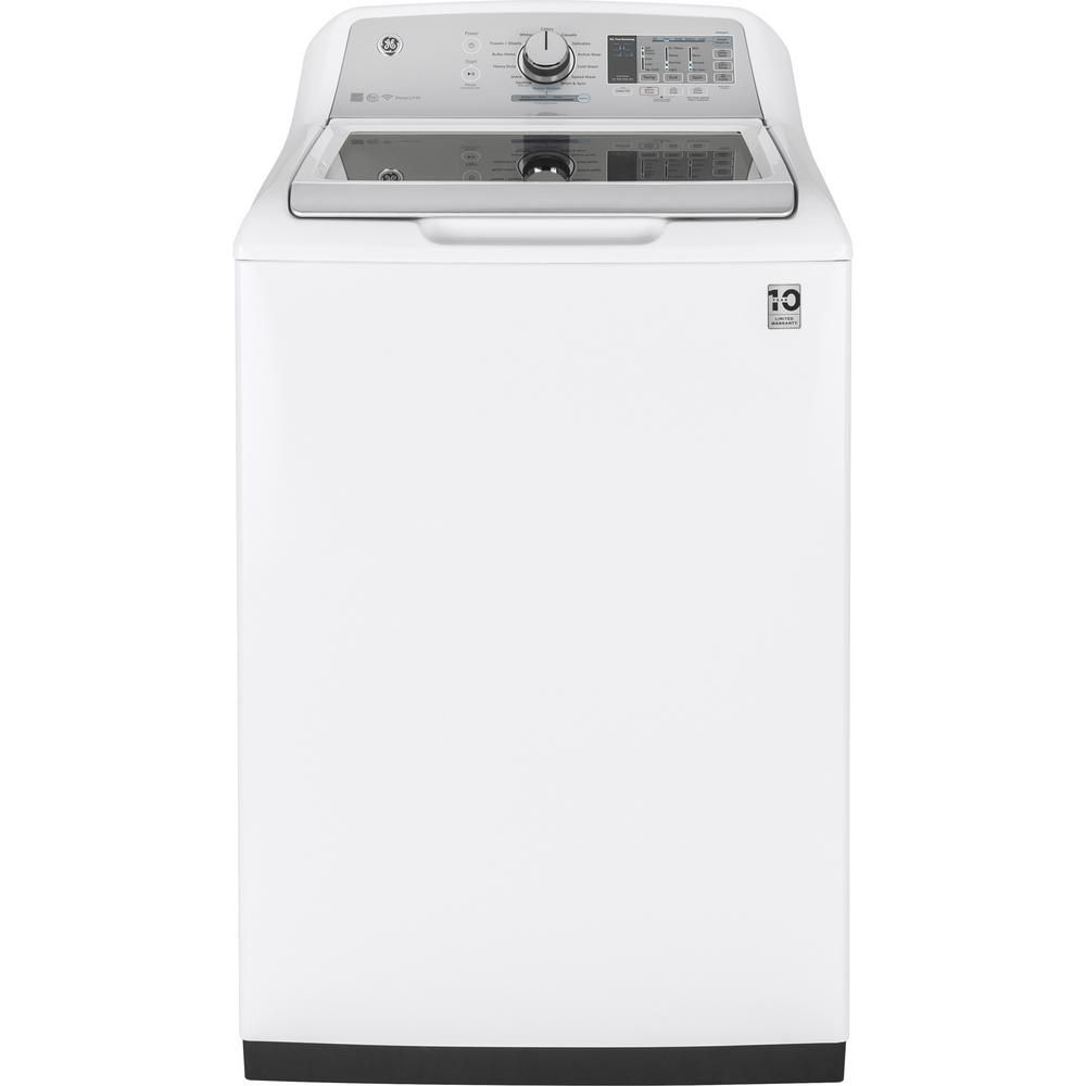 GE 5.0 cu. ft. High-Efficiency White Top Load Washing Machine and Wifi Connected with SmartDispense, ENERGY STAR