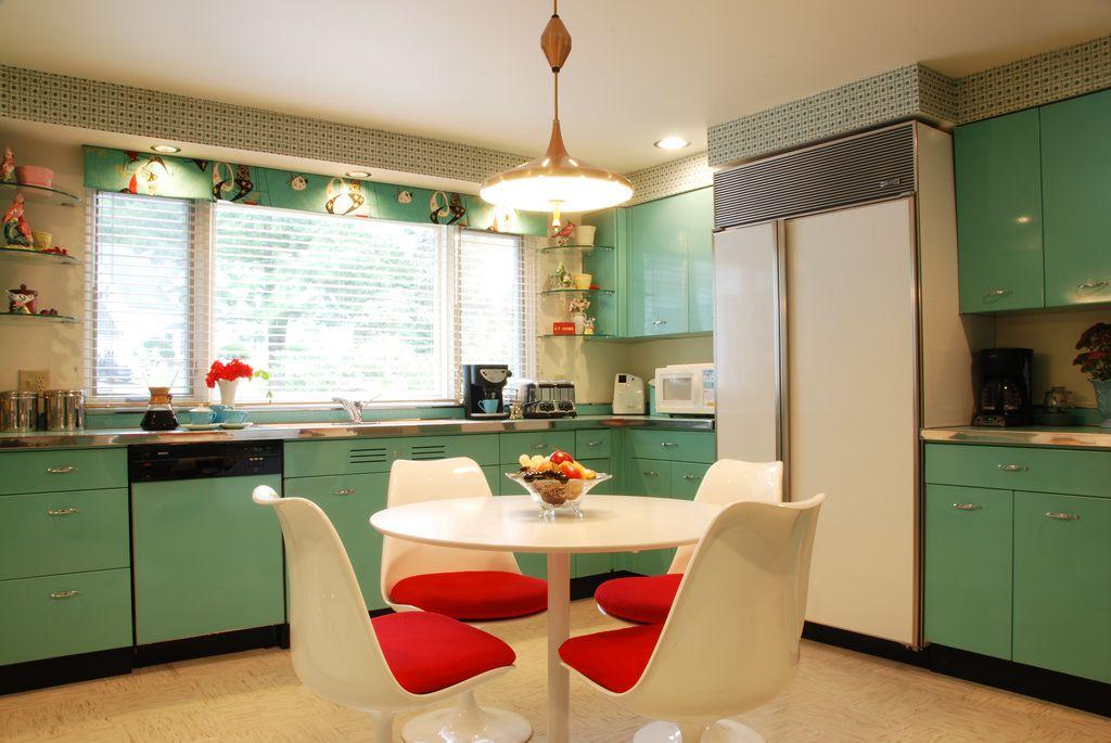 metal kitchen cabinets in midcentury kitchen