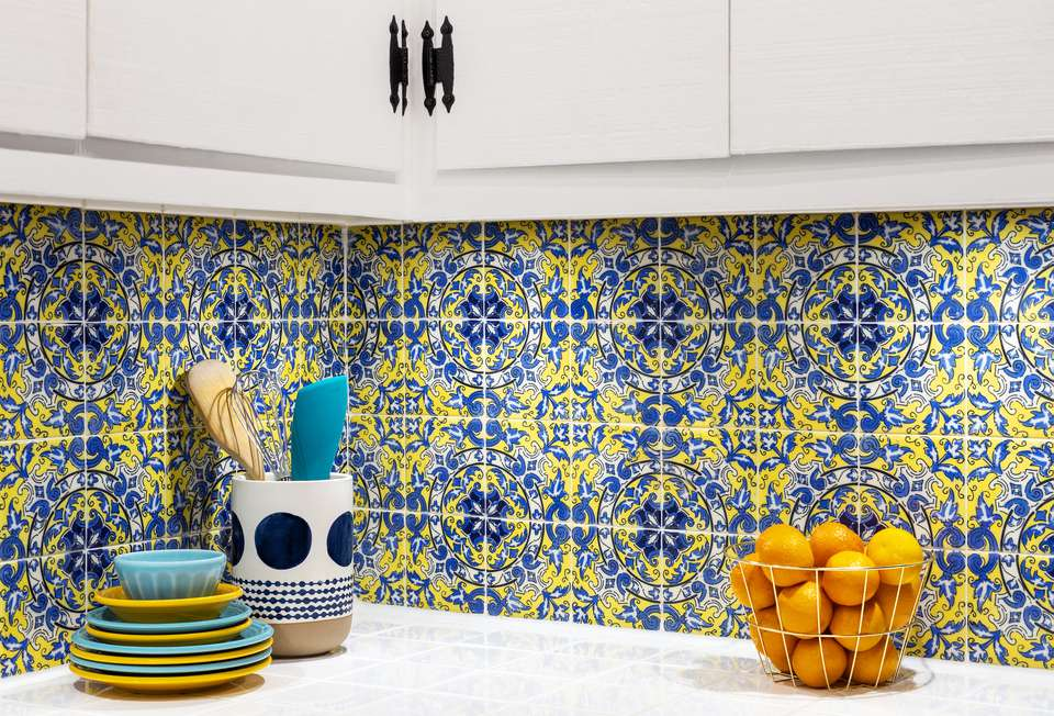 Spanish tiling in a kitchen as a backsplash