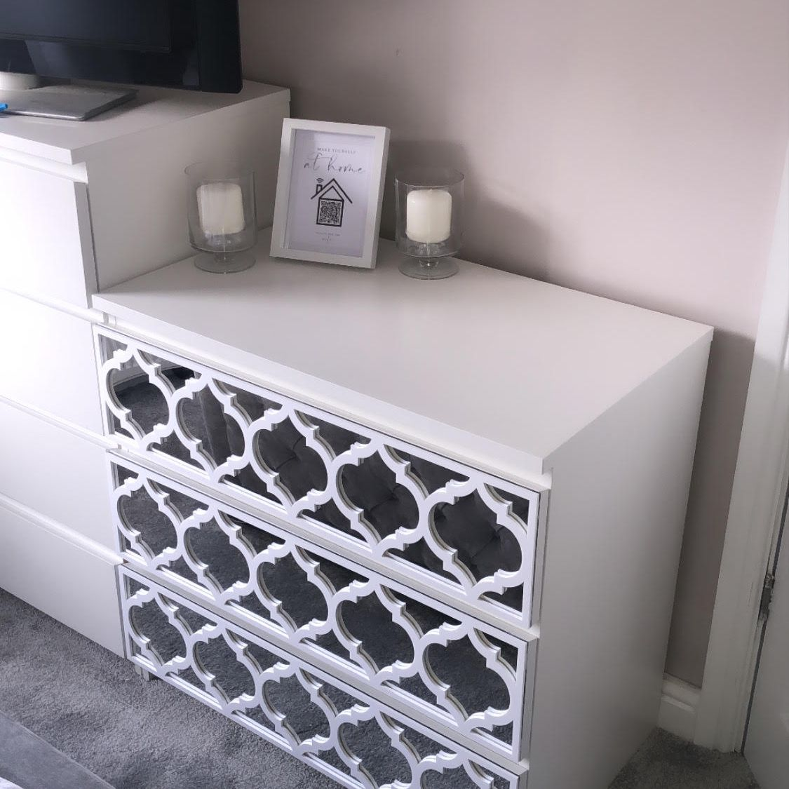 IKEA malm dresser decorated with mirrored trellises
