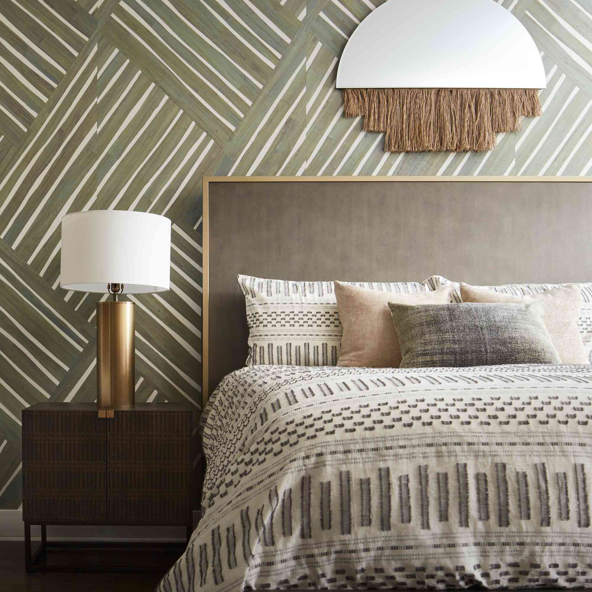 abstract wallpaper in a bedroom