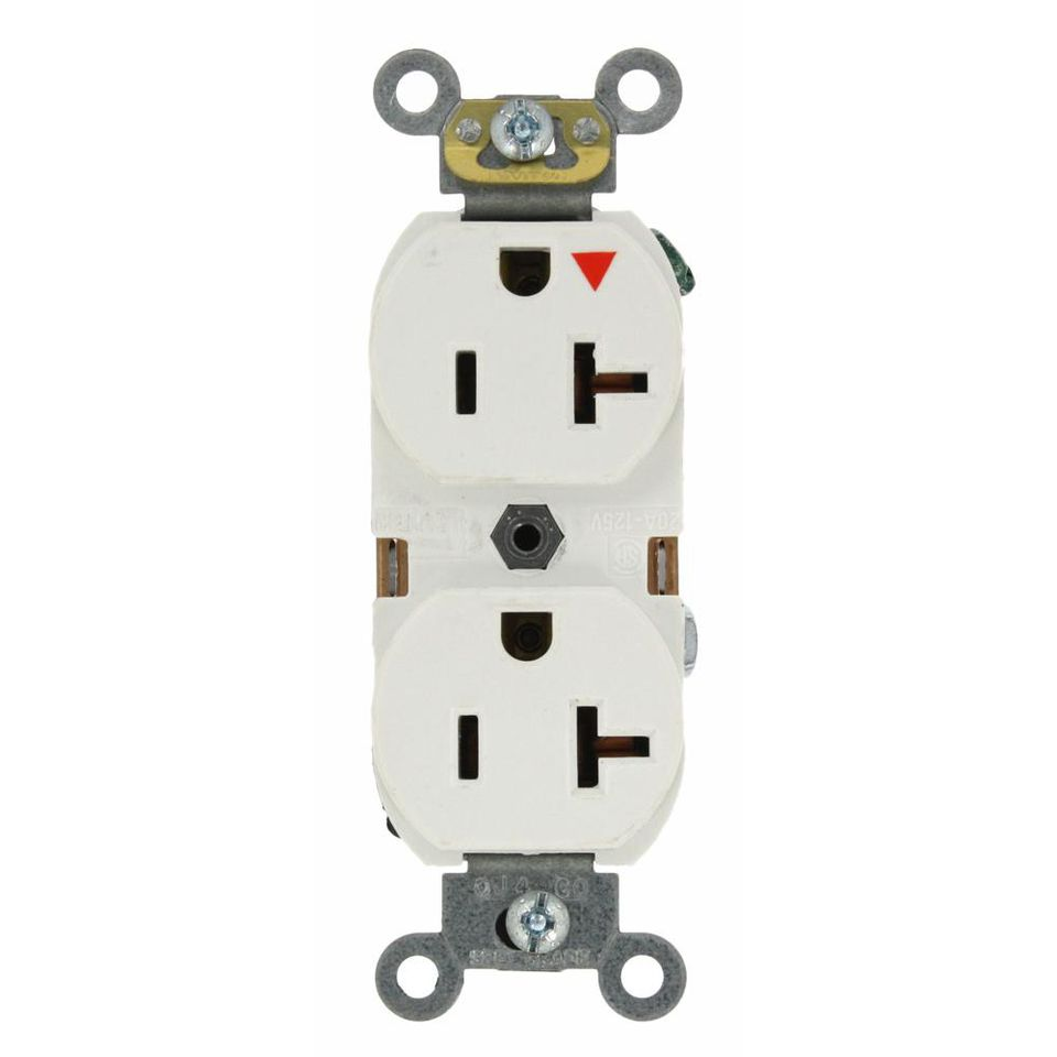 White industrial grade isolated ground duplex outlet