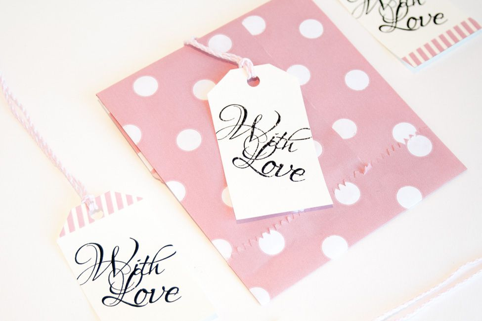 "Wedding favor tags that say ""With Love"""