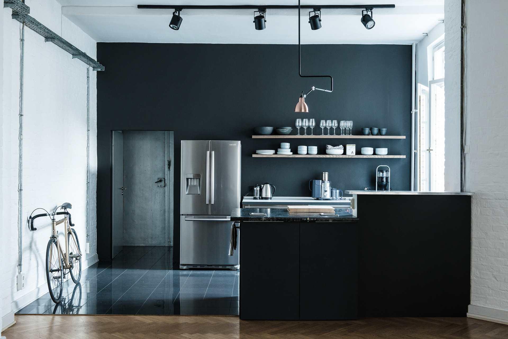 cocina gris oscuro