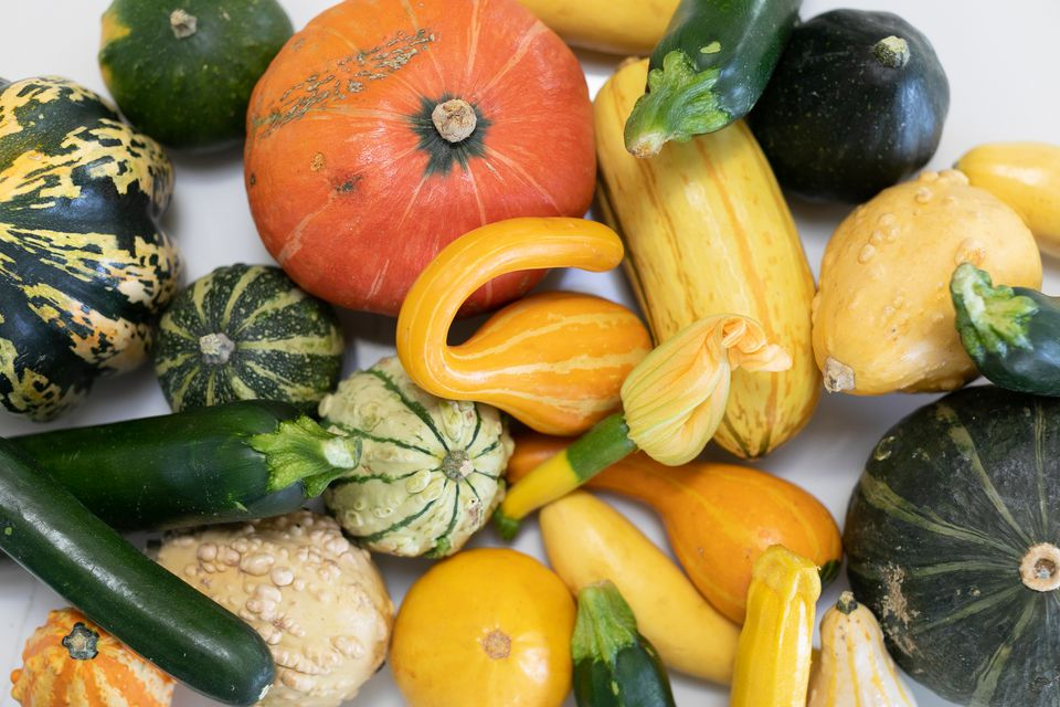 Different squash types stacked and lying next to each other