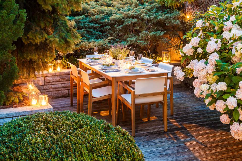 outdoor dining table at night