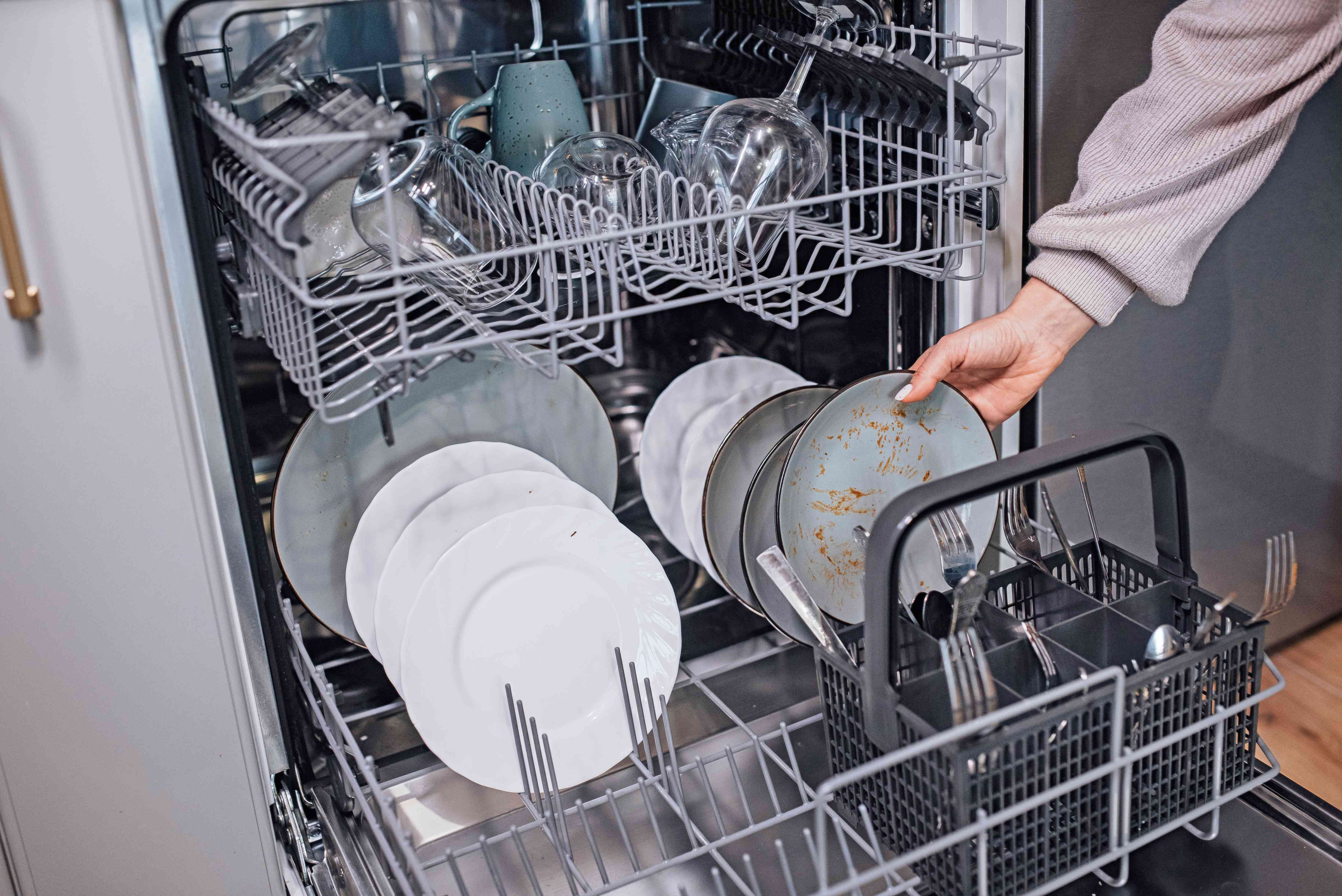 partially-filled dishwasher