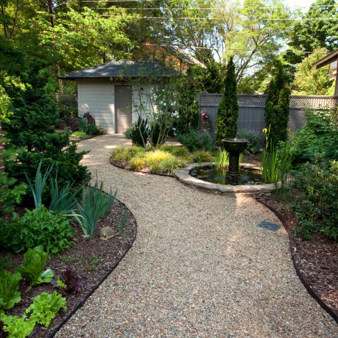 Shade garden near path.