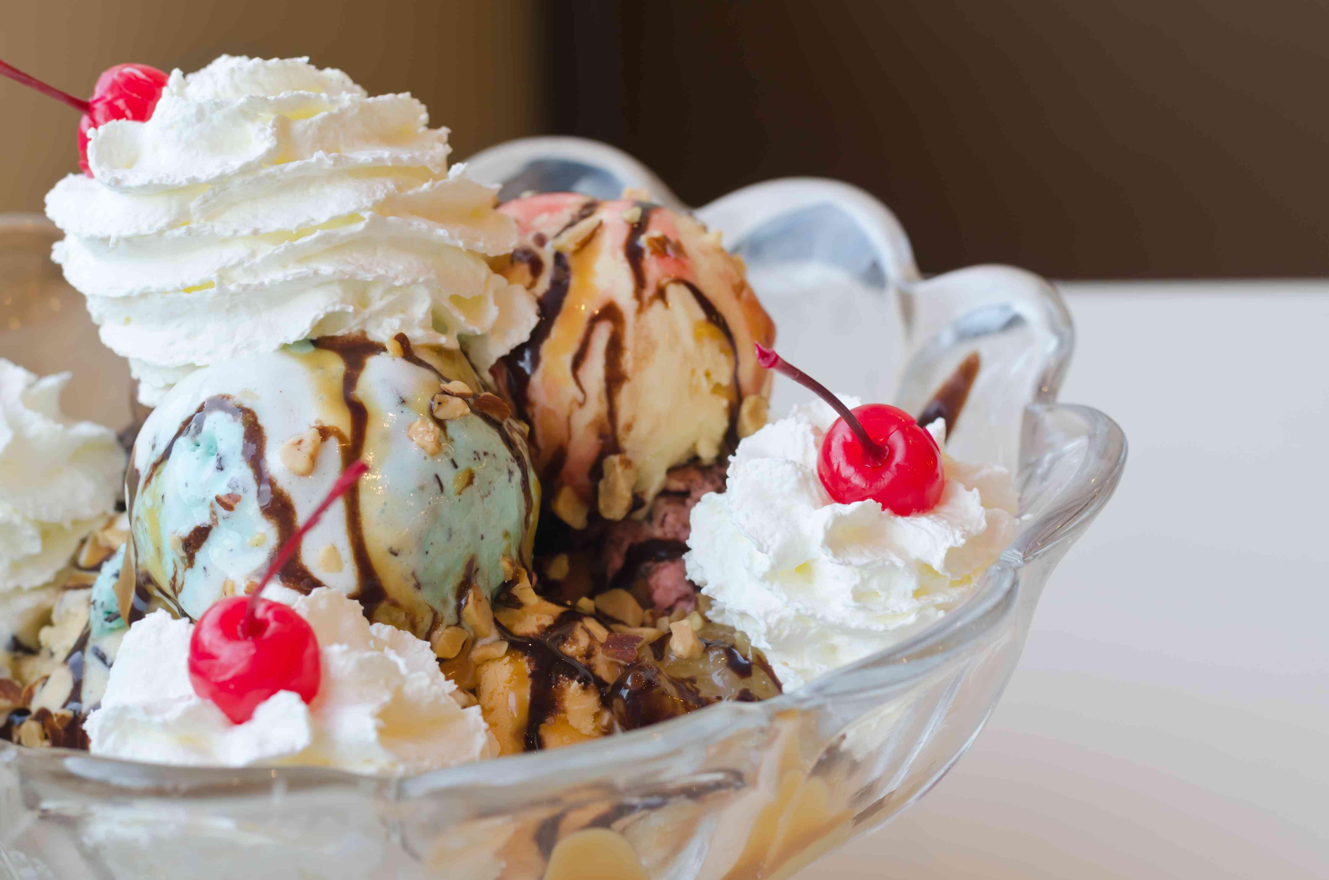 Ice cream sundae in big bowl