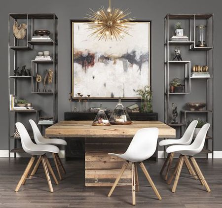 Modern Bookshelves And Art In A Gray Dining Room