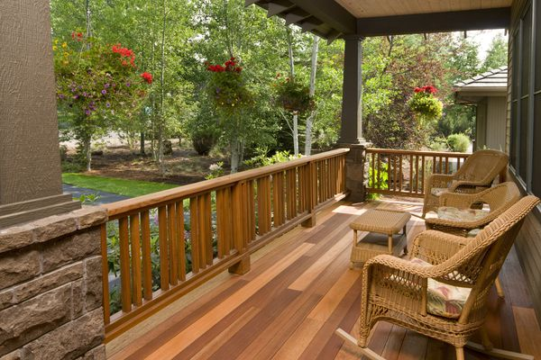 Rocking chairs on wood deck