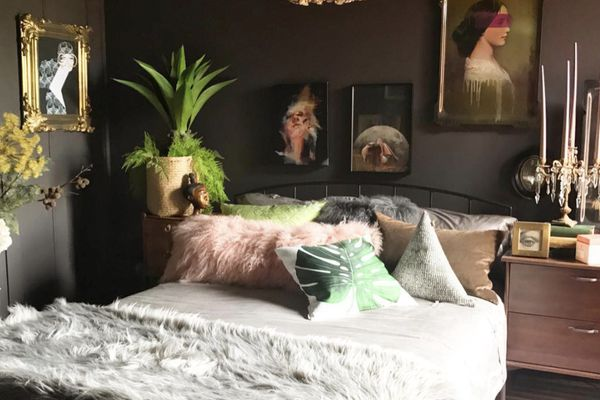 Boho bedroom with Farrow and Ball's Tanners Brown paint