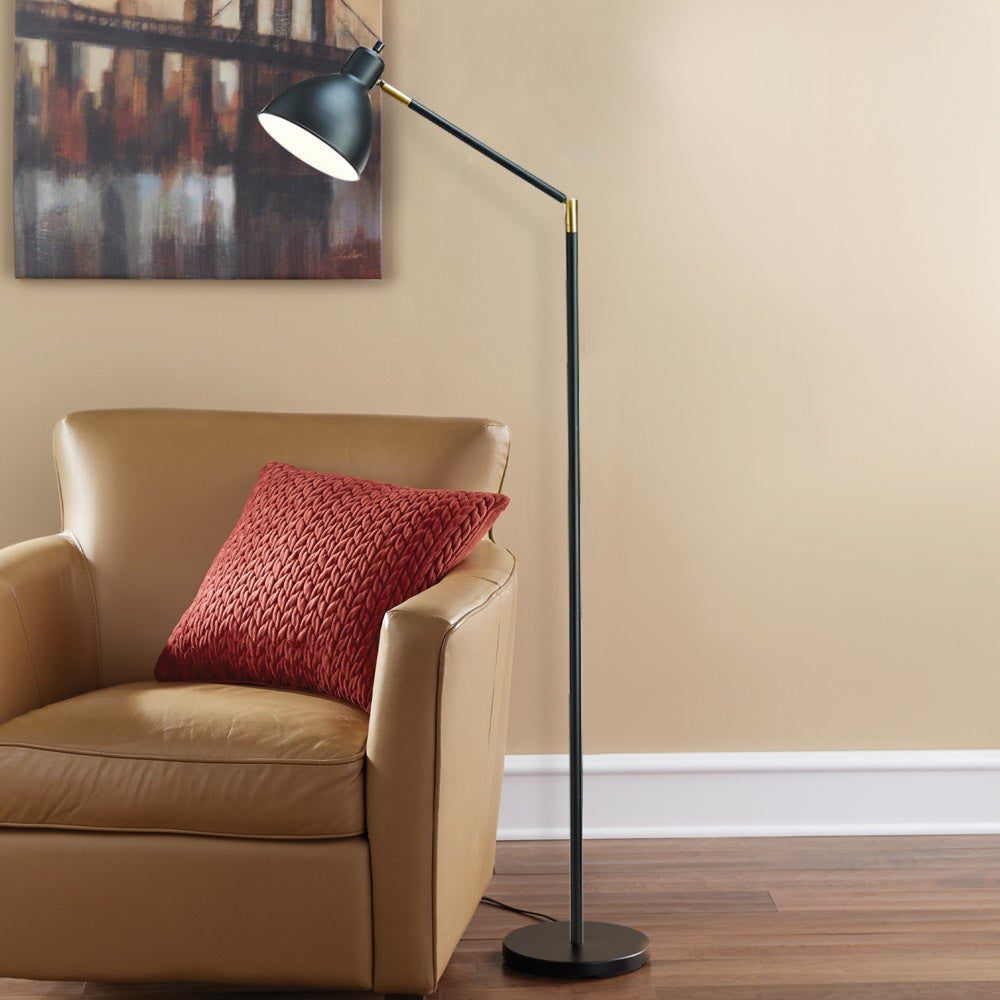 Carson Carrington Innnes Black Brass/Metal Articulating Antique Floor Lamp