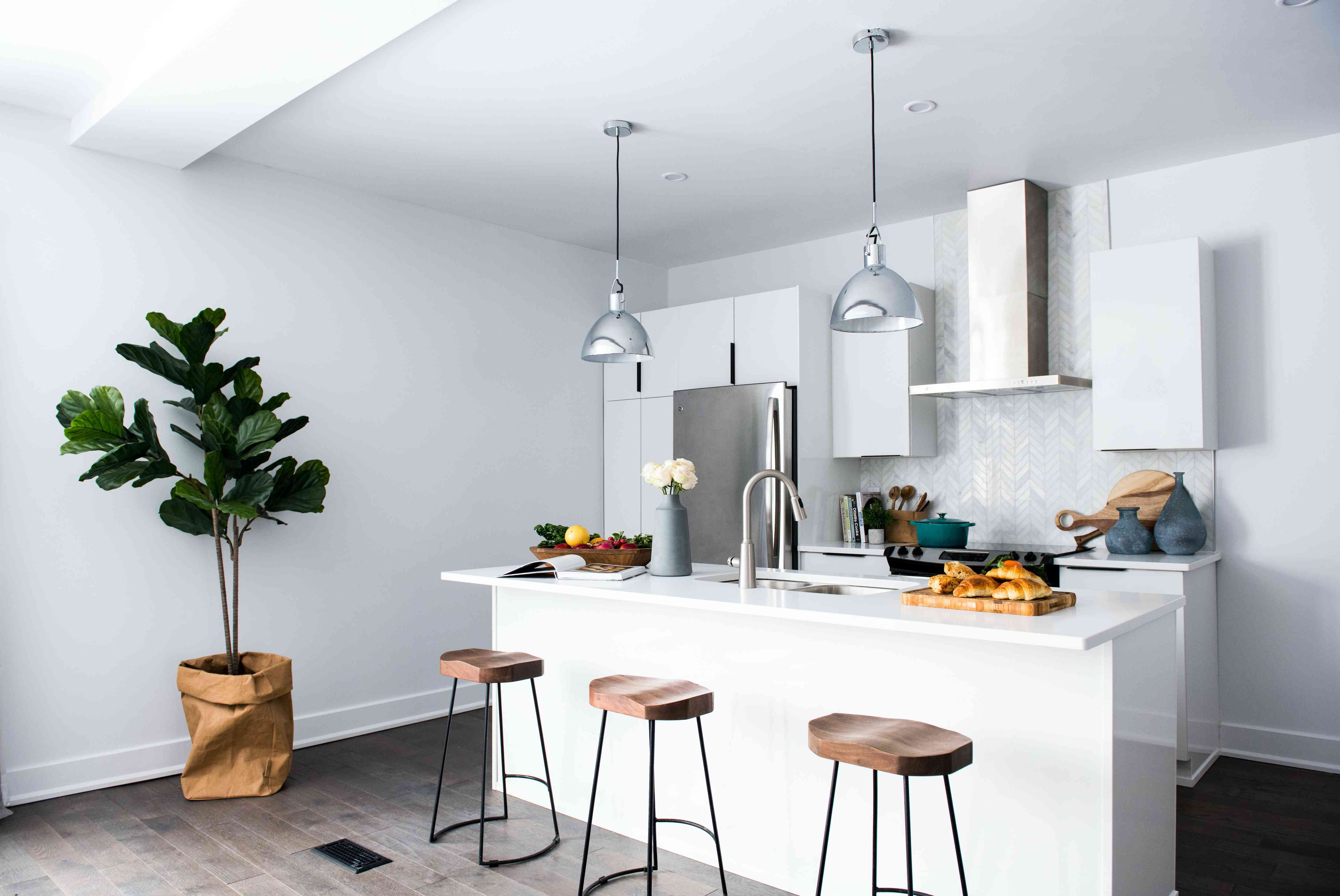 small white kitchen with plants and lots of light