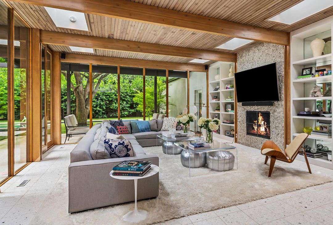 plano de planta abierto en una casa